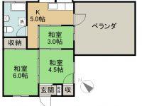 賃貸 仲松アパート 2階 間取り図