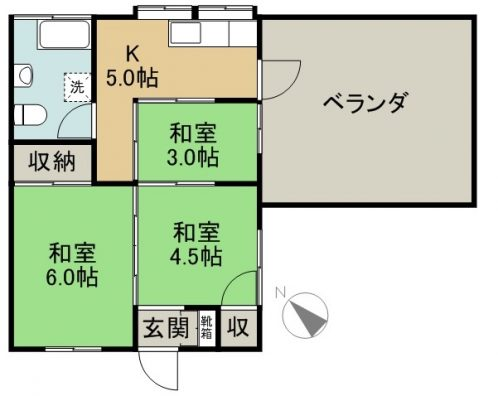 仲松アパート 2-E 商談中 間取り図
