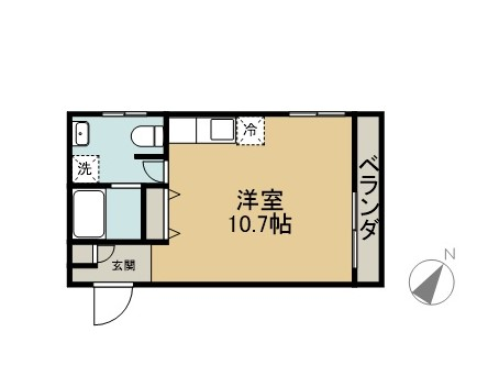 ONE 1 APARTMENTS 1B 間取り図