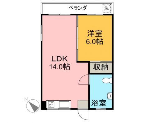 野津コーポ 3-D 間取り図