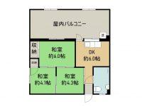 賃貸 アパートK 2階 間取り図